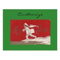 Boy Skating Vintage Thunder_Cove Christmas Postcard - postcard post card postcards unique diy cyo customize personalize