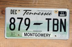 Tennessee License Plate Number 879TBN