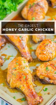Honey Garlic Chicken Legs are a fast and easy dish that's loaded with flavor. Chicken legs are coated in a sweet and savory glaze and baked until tender and juicy. Perfect for a simple dinner!  #chicken #chickenlegs #chickenrecipes #chickendinner #drumstickrecipes #hoenychicken #garlicchicken #dinner Best Chicken Recipes, Turkey Recipes, Lunch Recipes, Easy Dinner Recipes, Beef Recipes, Easy Meals, Dessert Recipes, Summer Recipes, Delicious Recipes