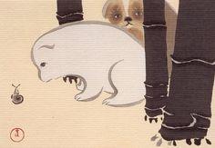Puppies and snail, Sekka Kamisaka, 1909, Japan