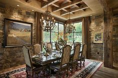 Chimney Rock Residence Dining room by Locati Architects, Design by Locati Interiors, Photography by Roger Wade Studio, near Shell Knob, Missouri.