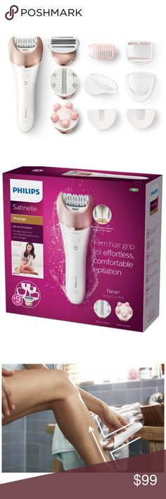 Philips Satinelle Prestige Wet & Dry Epilator NEW IN BOX - Luxurious epilation experience for smooth skin. Perfect head-to-toe hair removal solution with 9 accessories including a shaving head, body massager and exfoliator. Ceramic discs are gentle against the skin and grip even the finest hair. Rechargeable Battery provides 40 minutes of cordless use after a quick 1.5 hour charge Philips Accessories