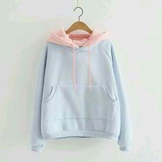 Cute students hoodie fleece pullover pastel blue and pink retro hoodie kawaii Pastel Fashion, Kawaii Fashion, Cute Fashion, Fashion Outfits, Pullover Hoodie, Sweater Hoodie, Hooded Sweatshirts, Cute Hoodie, Fleece Hoodie