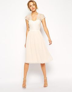 ASOS | ASOS Scallop Lace Edge Midi Dress at ASOS