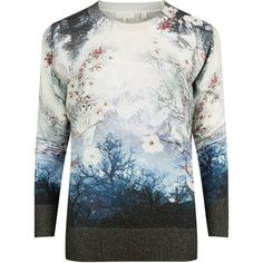 Ted Baker Marley Misty Mountains Print Jumper, Mid Blue featuring polyvore, women's fashion, clothing, tops, sweaters, long sleeve tops, long sleeve sweater, blue top, patterned sweaters and ted baker