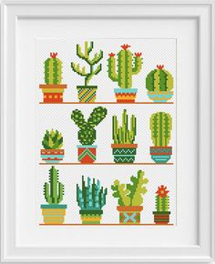 Cactus cross stitch pattern Flower cross stitch sampler Modern