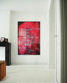 White typography in Red and Pink  Acrylic painting by RonaldHunter, $389.00