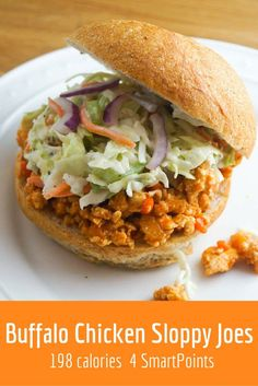 Buffalo Chicken Sloppy Joes - Slender Kitchen This recipe is Clean Eating, Gluten Free, Low Carb, Paleo, and Weight Watchers:registered:.