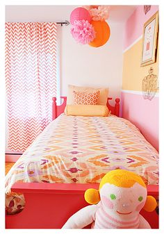 Pink Orange and white little girls room. This is what I'm after if it is a girl, except gray instead of white (otherwise how could you sleep? It is sooooo bright).