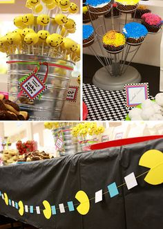 like the pac-man garland 80s Birthday Parties, 80th Birthday, Birthday Party Themes, Birthday Ideas, Birthday Cakes, Pac Man Party, 80s Party Decorations, Table Decorations, Fundraiser Party