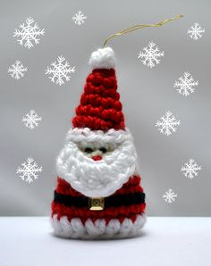 Crochet Santa Christmas Ornament Pattern