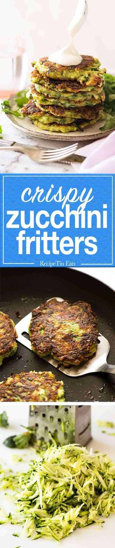 Zucchini fritters made extra crispy and extra tasty with the addition of parmesan! Crispy on the outside, and moist but not soggy on the inside. Vegetarian Cooking, Vegetarian Recipes, Cooking Recipes, Healthy Recipes, Vegan Meals, Side Dish Recipes, Vegetable Recipes, Veggie Food, Zucchini Fritters