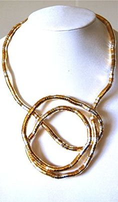 Bendable Necklace By Snake Twist Silver and Gold Multi 8mm >>> Check out this great product.