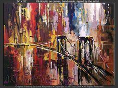 """""""Manhattan Fantasy"""" - Original Cityscape Art by Lena Karpinsky, http://www.artbylena.com/original-painting/21057/manhattan-fantasy.html"""