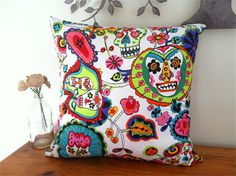 """Day Of The Dead"" Pillow Cover, Vintage Denim & Mexican print 50cm x 50cm"