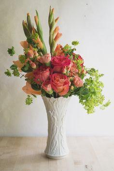 gladiolus, rose, carnation bouquet