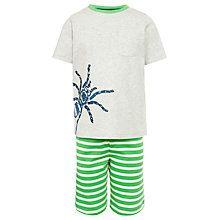 Buy John Lewis Boy Spider Stripe Short Pyjamas, Grey/Green Online at johnlewis.com