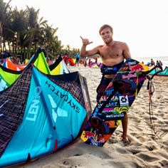 Superstar kiteboarder Ruben Lenten on the beach in front of LEK Cabarete in Laurel's curated photo essay of the MaiTai Cabarete kiteboarding event at her kitesurfing school in the Dominican Republic.