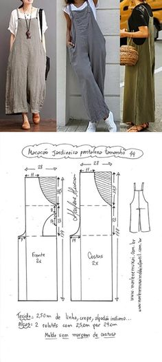 Patrones y moldes de Vestidos – Mi Mundo De Moda – Cursos Patrones Costura Linen Dress Pattern, Dress Sewing Patterns, Pants Pattern, Vintage Sewing Patterns, Clothing Patterns, Jumpsuit Pattern, Sewing Pants, Sewing Clothes, Diy Clothes