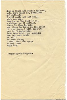 Typewriter Series #1147 by Tyler Knott Gregson*Chasers of the Light, is available through Amazon, Barnes and Noble, IndieBound , Books-A-Million , Paper Source or Anthropologie *