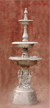 3 Tiered Swan Cast Aluminum Fountain
