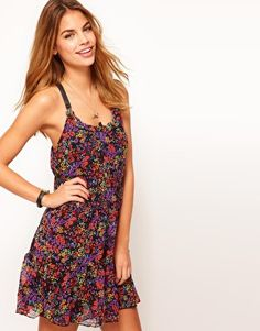 See U Soon Floral Dress With PU Strap Detail