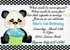 Cupcake Panda Birthday Invitation