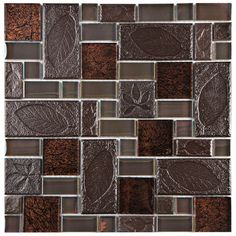 "EliteTile Eden 11.75"" x 11.75"" Glass and Stone Mosaic Tile in Walnut & Reviews 