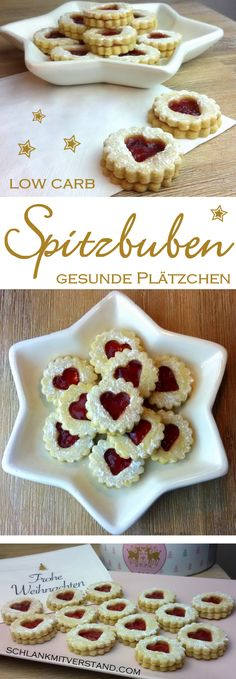 low carb scouts - delicious cookies- low carb Spitzbuben – leckere Plätzchen low carb scouts … healthy cookies made easy … - Paleo Dessert, Healthy Dessert Recipes, Healthy Baking, Baking Recipes, Cookie Recipes, Low Carb Sweets, Low Carb Desserts, Healthy Cookies, Yummy Cookies
