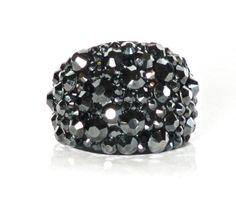 Black Hematite Swarovski Crystal Dome Cocktail by GlamorousHippie