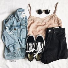 2019 Casual Fashion Trends For Women - Fashion Trends Grunge Outfits, Jean Outfits, Cute Casual Outfits, Pretty Outfits, Summer Outfits, Black Shorts Outfit Summer, Fashion Mode, Fashion Outfits, Womens Fashion