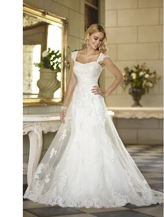 Elegant lace cap sleeve sweetheart tulle lace-up a-line Wedding Dress 2015