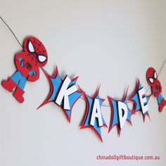 spiderman party bunting personalised with name by chinadollparty
