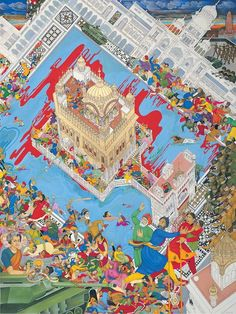 The Singh Twins - Nineteen Eighty Four Nineteen Eighty Four, Golden Temple Amritsar, Powerful Images, Indian Artist, World History, Contemporary Artists, Painting Inspiration, Bohemian Rug, Religion