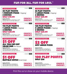 Pinned March 3rd: 30 games + pizza + 2 drinks = $20 & more at Chuck #E. Cheese #coupon via The #Coupons App