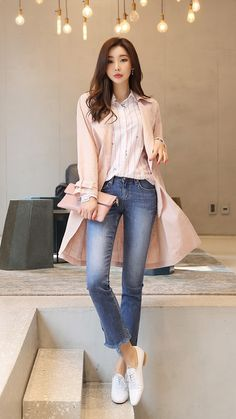 Womens fashion, ootd fashion, stylish outfits, bell sleeves, bell sleeve to Casual Asian Fashion, Korean Fashion Fall, Korean Fashion Trends, Ootd Fashion, Fashion Outfits, Pink Fashion, Womens Fashion, Casual Work Outfits, Business Casual Outfits