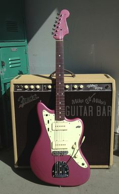 Glamor shots of John's incredible Fender Thin Skin Jazzmaster in Burgundy Mist. I can't tell you how much I've grown to love this color, especially when viewed in person. Guitar Rig, Guitar Picks, Cool Guitar, Ukulele, Guitar Wall, The Ventures, Fender Jaguar, Mike And Mike, Music Aesthetic