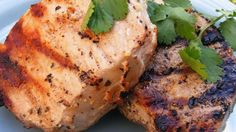 Grilled Lemon Herb Pork Chops Recipe - These are SO SIMPLE, yet so good - they taste just like steak! The chops can also be broiled in the oven. Best Grilled Pork Chops, Boneless Pork Loin Chops, Grilled Meat, Pork Tenderloins, Pork Rib Recipes, Grilling Recipes, Cooking Recipes, Meat Recipes, Yummy Recipes