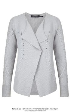 A646 Irelands Eye - Silver Cotton Waterfall Cardigan. Contemporary Irish cabled knits for Spring Summer 2015.
