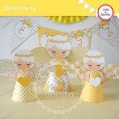 Shabby Chic amarillo: angelitos 3D