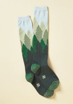 Fir the Fun of It Socks. Looking for the perfect reason to flaunt these pine tree knee socks? #green #modcloth
