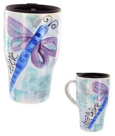 Just Believe Dragonfly Travel Mug    Item #47025