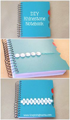 Personalized Notebook | DIY Rhinestone notebook from @Kimber -ThePinningMama