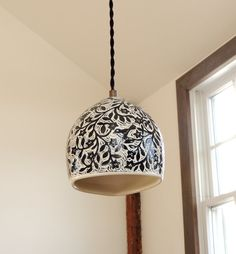 Black and White Porcelain Pendant Hanging by SueCanizaresCeramics