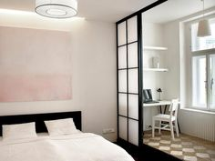 Best elegant small bedroom design ideas with stylish, art touching, and clean design. Small bedroom is best choice for your home with small space. Modern Small Apartment Design, Small Apartment Bedrooms, Small Bedroom Designs, Apartment Bedroom Decor, Apartment Interior, Small Apartments, Studio Apartment, Prague Apartment, Apartment Furniture