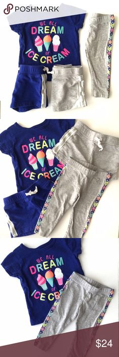 Carter's 4 pcs Bundle Carter's 4 pcs bundle includes a short sleeve dark blue (color is a little brighter than navy) with neon pink, orange, green, yellow. 2 pairs of cotton shorts in matching blue and grey both have non functional drawstrings. 1 pair of Capri leggings with a design down the sides in matching colors. Top and leggings are in VGUC and shorts are in GUC with some wash wear and minimal fading. Original retail price is based on individual prices of each piece. Carter's Bottoms