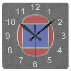 "Art Deco Metro - Gray Blue Red - Striking wall clock offers clean understated, Art Deco inspired design suitable for home & office. Original digital painting by Leslie Sigal Javorek used on clock-face mimics look of a medium gray granite bgnd; 3D stainless steel numerals; & an embedded nickel finish cloissonne w/ cornflower blue & coral red enamel inserts. Coordinates w/ HoMeArts' ""Art Deco Bird and Pine"" series www.zazzle.com/icondoit+bird+pine+gifts?rf=238155573613991097&tc=pnt…"