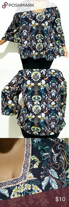 Navy Blue Flowy Top Beautiful flowy top with floral print. 100% polyester. Only worn once. Tops