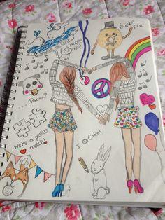 cute drawings of best friends Best Friend Drawings, Bff Drawings, Cute Disney Drawings, Pretty Drawings, Amazing Drawings, Cartoon Drawings, Easy Drawings, Bff Pictures, Best Friend Pictures