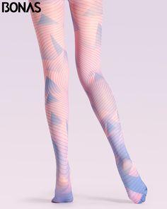 0b05b4e28eaeb BONAS Pink Stripes Pantyhose Women Geometric Print Cotton Pantyhose